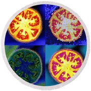4 Abstract Tomatoes Round Beach Towel