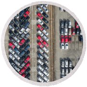 Aerial View Lot Of Vehicles On Parking For New Car. Round Beach Towel