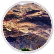 aerial view of Leh ladakh landscape Jammu and Kashmir India Round Beach Towel