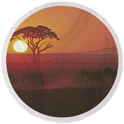 African Sunrise Round Beach Towel