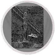 Angel Of The North Round Beach Towel
