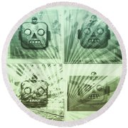 4 Angry Robots Round Beach Towel