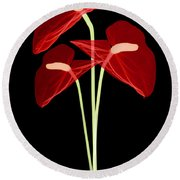 Anthurium Flowers, X-ray Round Beach Towel