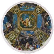 Artistic Ceilings Within The Vatican Museums In The Vatican City Round Beach Towel
