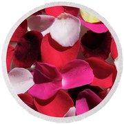 Back Lit Flower Petals 1 Round Beach Towel