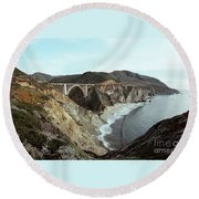 Bixby Creek Bridge Big Sur Photo By Pat Hathaway Round Beach Towel