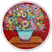 Blooms Round Beach Towel