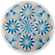 4 Blue Flowers Mandala Round Beach Towel