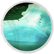 Blue Icebergs And Ice Chunks In Water Nearby Alaska Round Beach Towel