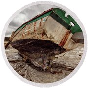Boats By The Sea Round Beach Towel