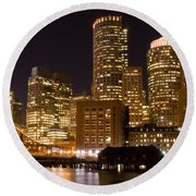 Boston Massachusetts Round Beach Towel