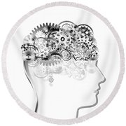 Brain Design By Cogs And Gears Round Beach Towel by Setsiri Silapasuwanchai