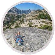 Break After Yosemite Hiking Round Beach Towel