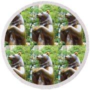 Bronze Statue Sculpture Of Bear Clapping Fineart Photography From Newyork Museum Usa Fineartamerica Round Beach Towel