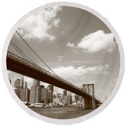 Brooklyn Bridge - New York City Skyline Round Beach Towel