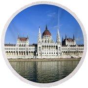 Budapest, Parliament Building  Round Beach Towel