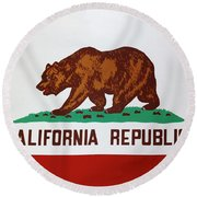 California Flag Round Beach Towel