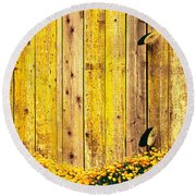 California Golden Poppies Eschscholzia Round Beach Towel