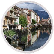 Canals Of Annecy Round Beach Towel