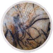 Cave Art: Mammoth Round Beach Towel