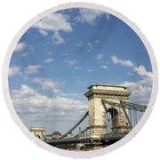 Chain Bridge On Danube River Budapest Round Beach Towel