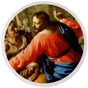 Christ Cleansing The Temple Round Beach Towel