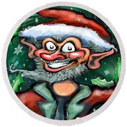 Christmas Elf Round Beach Towel