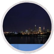 Cleveland Skyline On The Frozen Lake Erie Shore Round Beach Towel