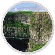 Cliffs Of Moher, Co Clare, Ireland Round Beach Towel