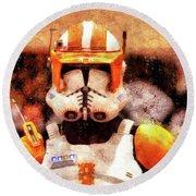 Clone Trooper Commander - Wax Style Round Beach Towel