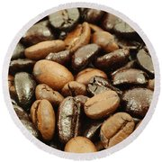 Coffee Beans Round Beach Towel