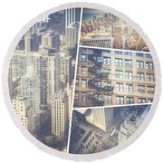 Collage Of Chicago  Round Beach Towel