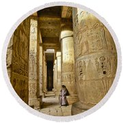 Colonnade In An Egyptian Temple Round Beach Towel