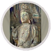 Colorful Indian Diety Figure Round Beach Towel