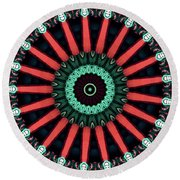 Colorful Kaleidoscope Incorporating Aspects Of Asian Architectur Round Beach Towel