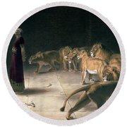 Daniel In The Lions Den Round Beach Towel