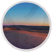Dune With Magnificent Sandy Waves At Hot And Windy Morning In Desert  Round Beach Towel