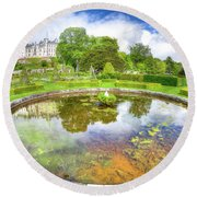 Dunrobin Castle Reflected Round Beach Towel