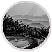 Early Morning Sunrise Over Blue Ridge Mountains Round Beach Towel