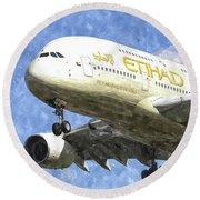 Etihad Airlines Airbus A380 Art Round Beach Towel