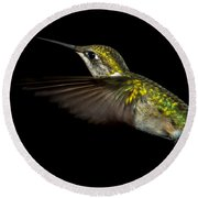 Female Ruby-throated Hummingbird Round Beach Towel