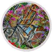 Flower Bike Collection Round Beach Towel