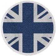 Great Britain Denim Flag Round Beach Towel