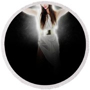 Greek Goddess  Round Beach Towel