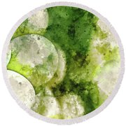 Green Grapes Close Up In Napa Valley Ready To Be Made Into Wine Round Beach Towel