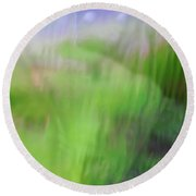 Green Landscape Abstract Round Beach Towel