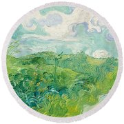 Green Wheat Fields, Auvers Round Beach Towel