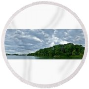 Green's Hill And The Bass River Round Beach Towel
