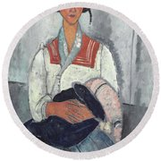 Gypsy Woman With Baby Round Beach Towel