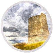 Hadleigh Castle Art Round Beach Towel